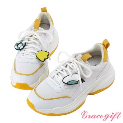 Disney collection by gracegift唐老鴨經典吊飾老爹鞋 黃