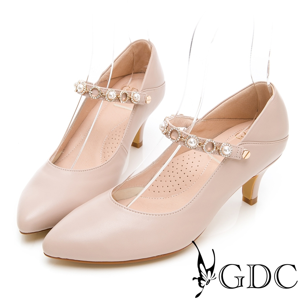 GDC-真皮繞帶水鑽素雅中跟尖頭鞋-粉色