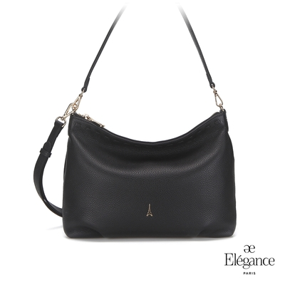 【Elegance】ADELE簡約牛皮側背包-黑色
