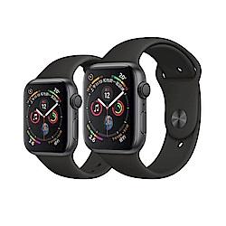 [無卡分期-12期]Apple Watch S4 44mm GPS版灰鋁金屬錶殼黑運動錶帶