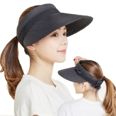 【89 zone】法式時裝蝴蝶結防曬草帽/遮陽帽(黑)