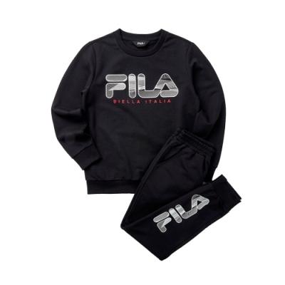 FILA KIDS 童長袖針織套裝-黑色 1WTT-8905-BK