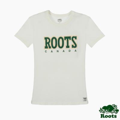 Roots 女裝- 復古翻玩系列 修身版短袖T恤-白色