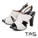 TAS 鏤空剪裁魚口高跟涼鞋-簡約白