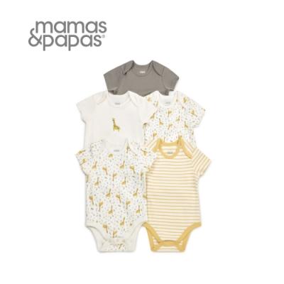Mamas&Papas 長頸鹿按快門-短袖包屁衣5件組