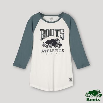 Roots 女裝- RBA 原創翻玩系列 經典LOGO棒球T恤-湖水綠