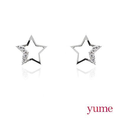 YUME - K金簍空星星晶鑽耳環