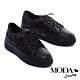 休閒鞋 MODA Luxury 硬朗個性派側拉鍊設計厚底綁帶休閒鞋-黑 product thumbnail 1