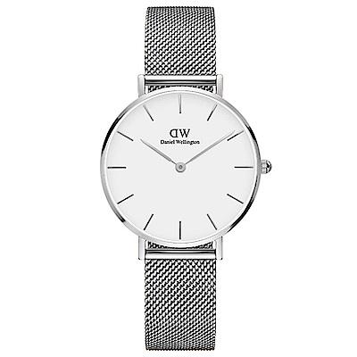 DW手錶 官方旗艦店 32mm銀框 Classic Petite 星鑽銀米蘭金屬編織手錶