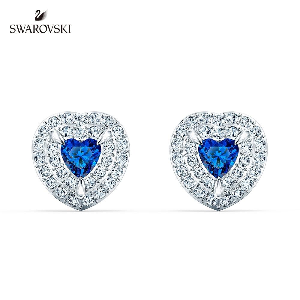 SWAROVSKI 125週年系列施華洛世奇 One 白金色藍水晶愛心耳釘