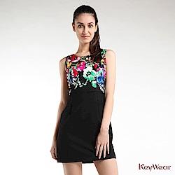 KeyWear奇威名品    復古典雅花卉印花無袖洋裝-黑色