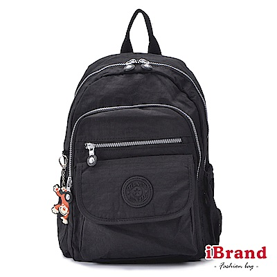 iBrand後背包 簡約素色超輕盈尼龍多功能後背包-都會黑