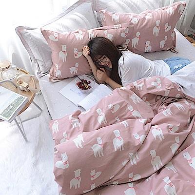 BUNNY LIFE 綿羊夢-雙人-文青風精梳棉床包被套組