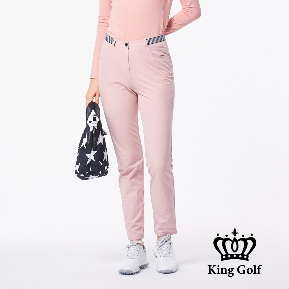 【KING GOLF】素面彈性羅紋窄管運動長褲-粉色