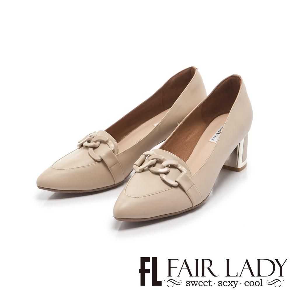 FAIR LADY 優雅小姐Miss Elegant 鏈條飾釦真皮尖頭粗跟鞋 香草