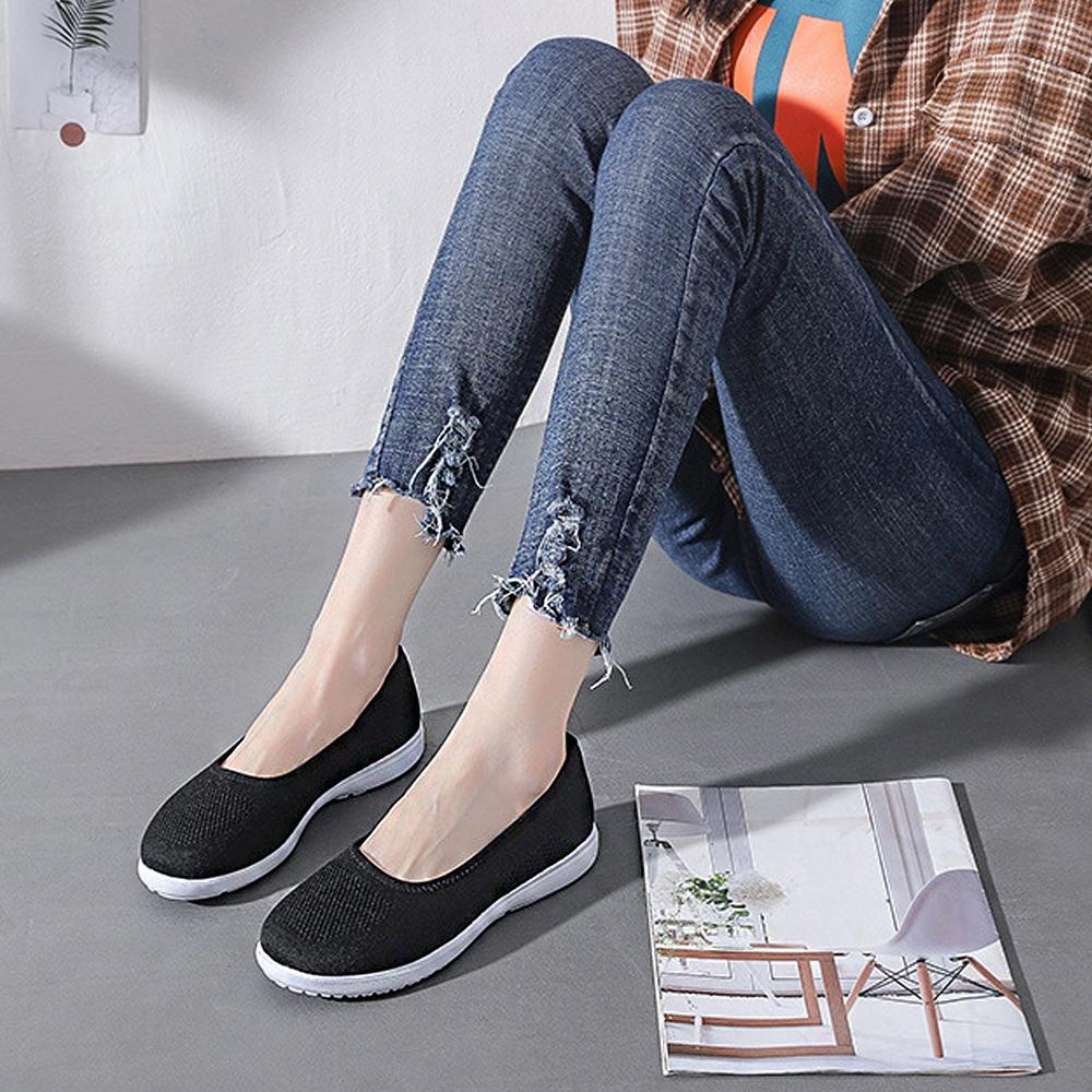 LN  現+預 韓版透氣簍空飛織懶人鞋(懶人鞋/休閒鞋) (黑)