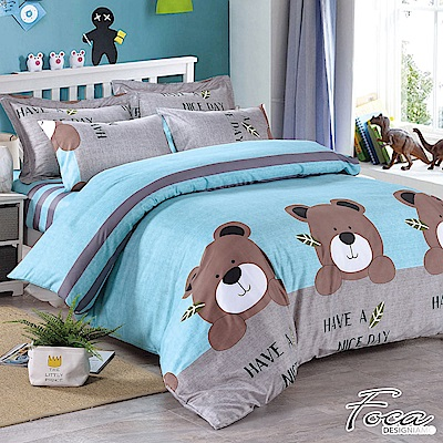 FOCA三隻小熊-單人 MIT製造100%雪絨棉活性印染薄床包枕套二件組