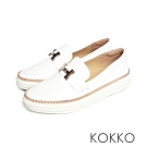 KOKKO - 極度舒適H扣真皮懶人休閒鞋 - 珍珠白