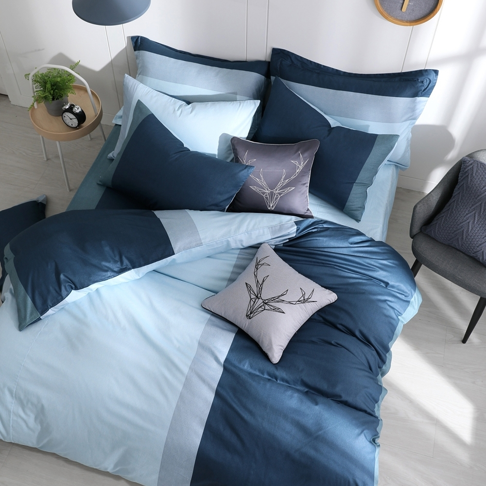 OLIVIA 羅伯特 藍 雙人全鋪棉床包兩用被套四件組 歐式枕套 200織精梳純棉 台灣製