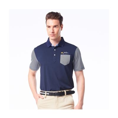 【Jack Nicklaus】金熊GOLF男款口袋款彈性吸濕排汗POLO衫-深藍色