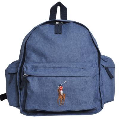 POLO Ralph Lauren 刺繡彩馬LOGO圖騰尼龍後背包(單寧藍/小)