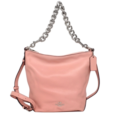 COACH粉紅全皮金屬粗鍊雙背帶小款多way水桶包