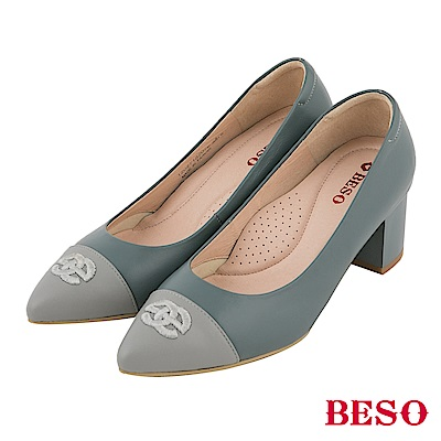 BESO 氣質典雅 全真皮撞色粗跟鞋~藍