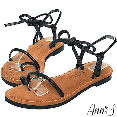 Ann'S水洗牛皮-小文青綁結寬版平底涼鞋-黑