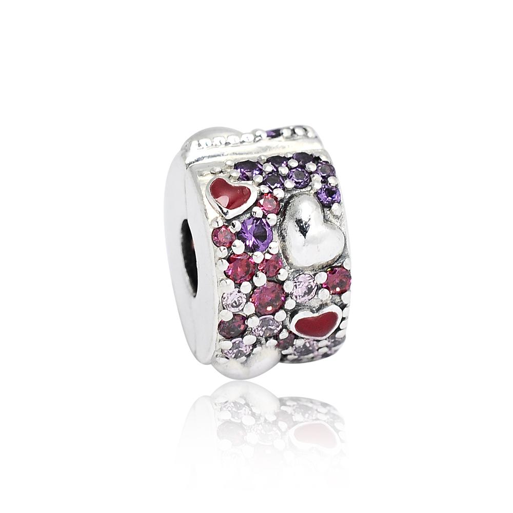 Pandora 潘朵拉 魅力繽紛愛心鑲鋯 夾扣式純銀墜飾 串珠