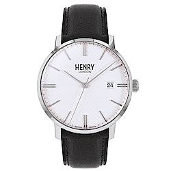 Henry London 英式簡約真皮手錶-白X黑/40mm