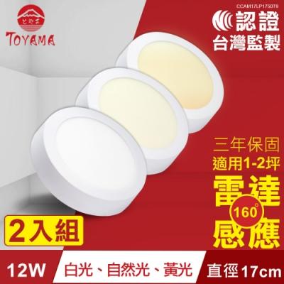 TOYAMA特亞馬12W超薄LED雷達微波感應吸頂燈全暗全亮白光、黃光、自然光x2件