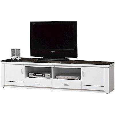 綠活居林肯時尚白7尺雲紋石面電視櫃視聽櫃-211x41x49cm免組