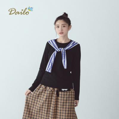 【Dailo】抖抖條紋披肩造型-上衣(三色)
