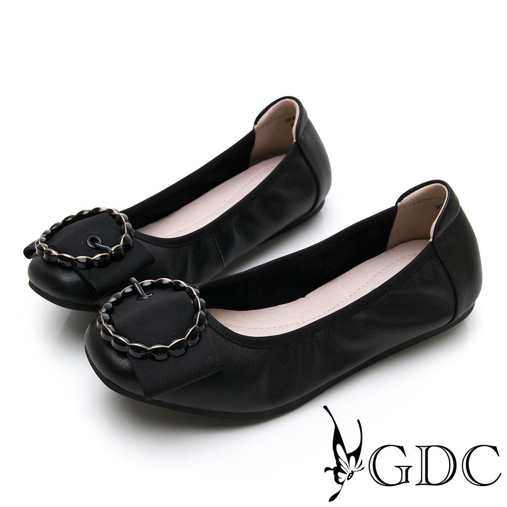 GDC-素面基本簡約蝴蝶結圓圈釦飾平底舒適包鞋-黑色