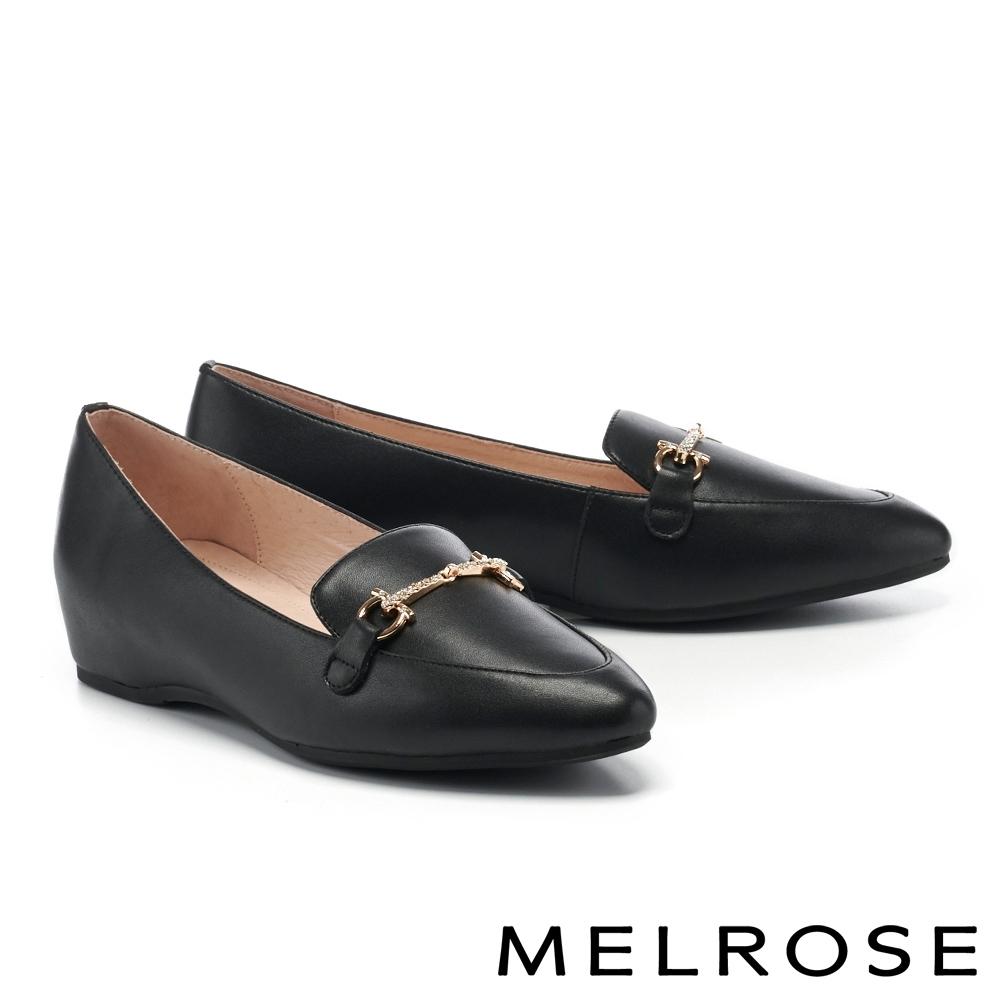 低跟鞋 MELROSE 摩登時尚金屬鍊條全真皮內增高樂福低跟鞋-黑