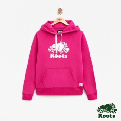 女裝Roots- 庫柏海狸刷毛連帽上衣-粉
