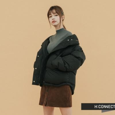 H:CONNECT 韓國品牌 女裝 - 立領保暖羽絨外套 - 黑