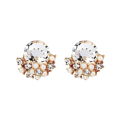 LOVER S TEMPO加拿大品牌 閃耀日出鑲嵌水晶珍珠耳環 玫瑰金
