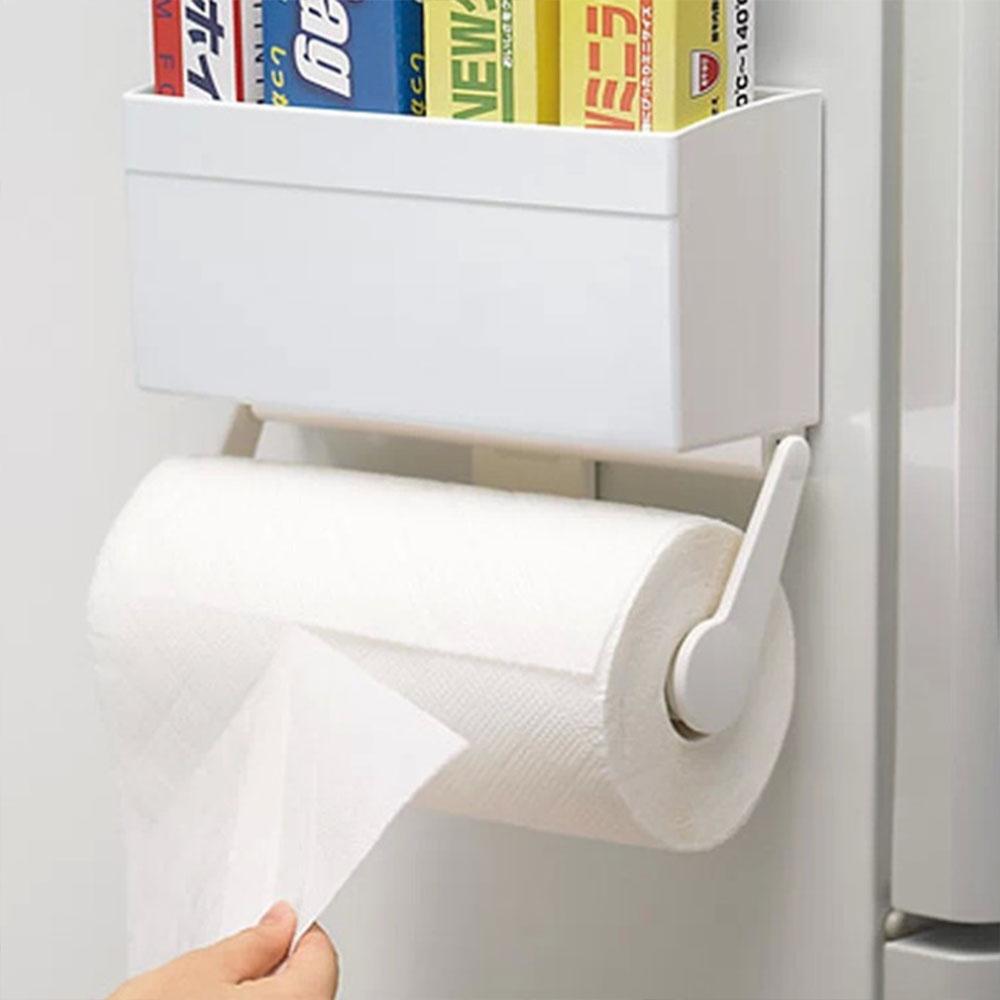 【AJ雜貨】廚房冰箱磁吸紙巾架 紙巾盒 掛架 保鮮膜收納