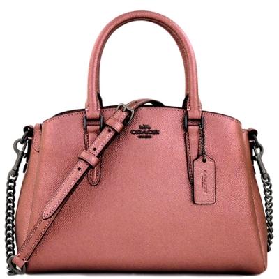 COACH 玫瑰粉色光澤防刮皮革手提/斜背兩用包
