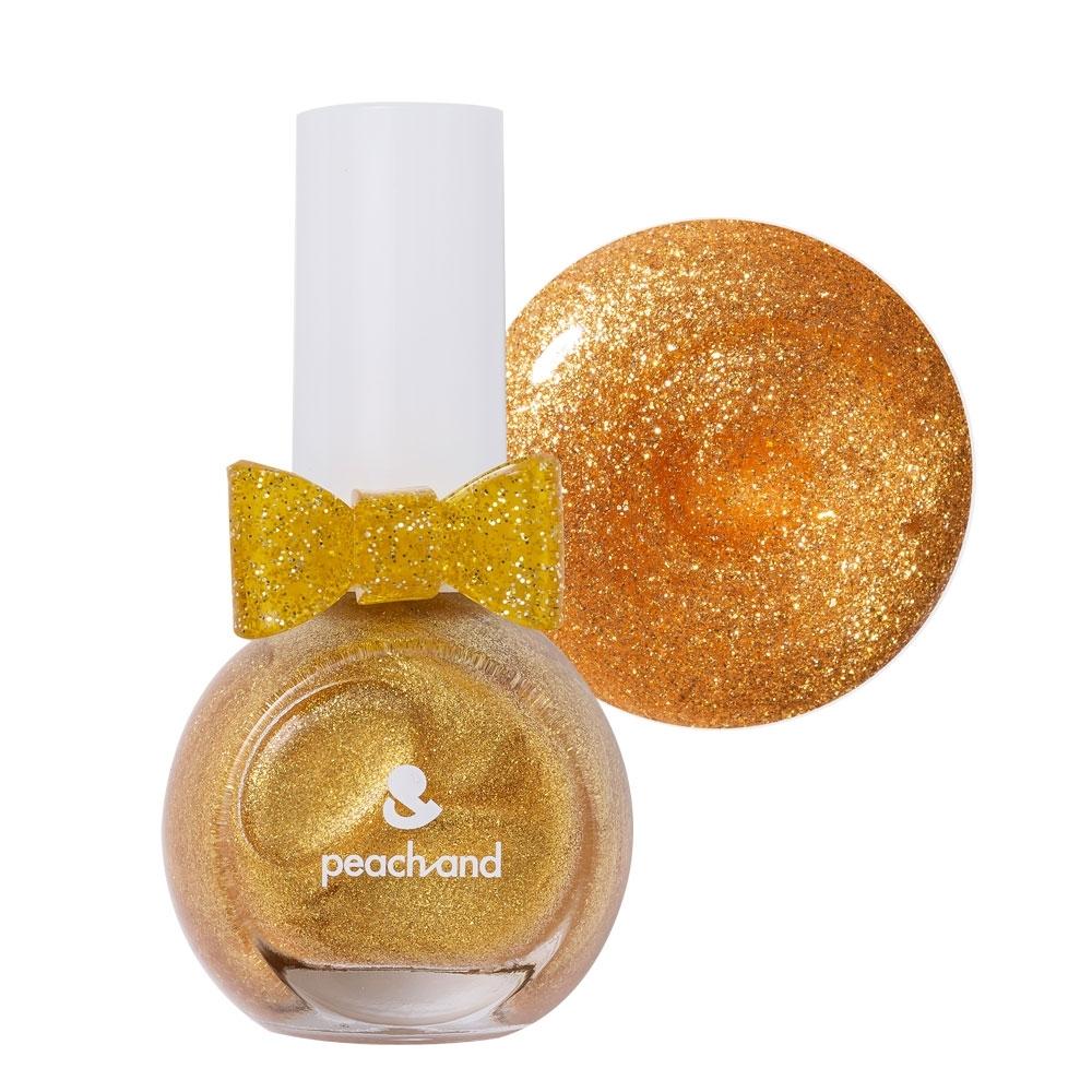 PeachAnd 兒童安全水溶性蝴蝶結指甲油 兒童孕婦專用彩妝 #長髮公主魔法金