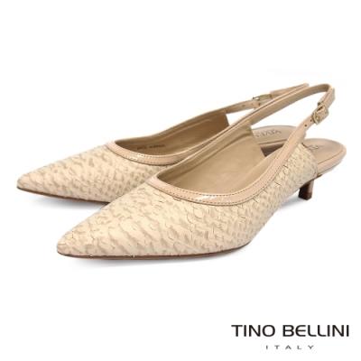 Tino Bellini 巴西進口層次蛇紋皮後釦帶中低跟鞋_粉膚