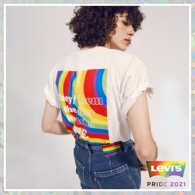 Levis Pride限量平權系列 男女同款 短袖T恤 Boxy方正寬袖版型 彩虹摩登Logo