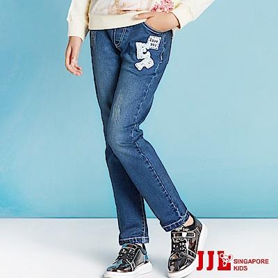 JJLKIDS 氣質珍珠字母牛仔褲(牛仔藍)