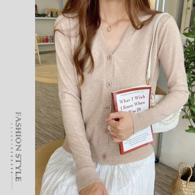 2F韓衣-簡約排扣素面針織外套-4色(F)