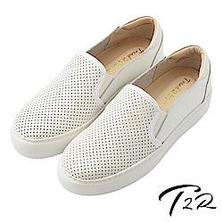 【T2R】真皮手工透氣舒適懶人鞋-白