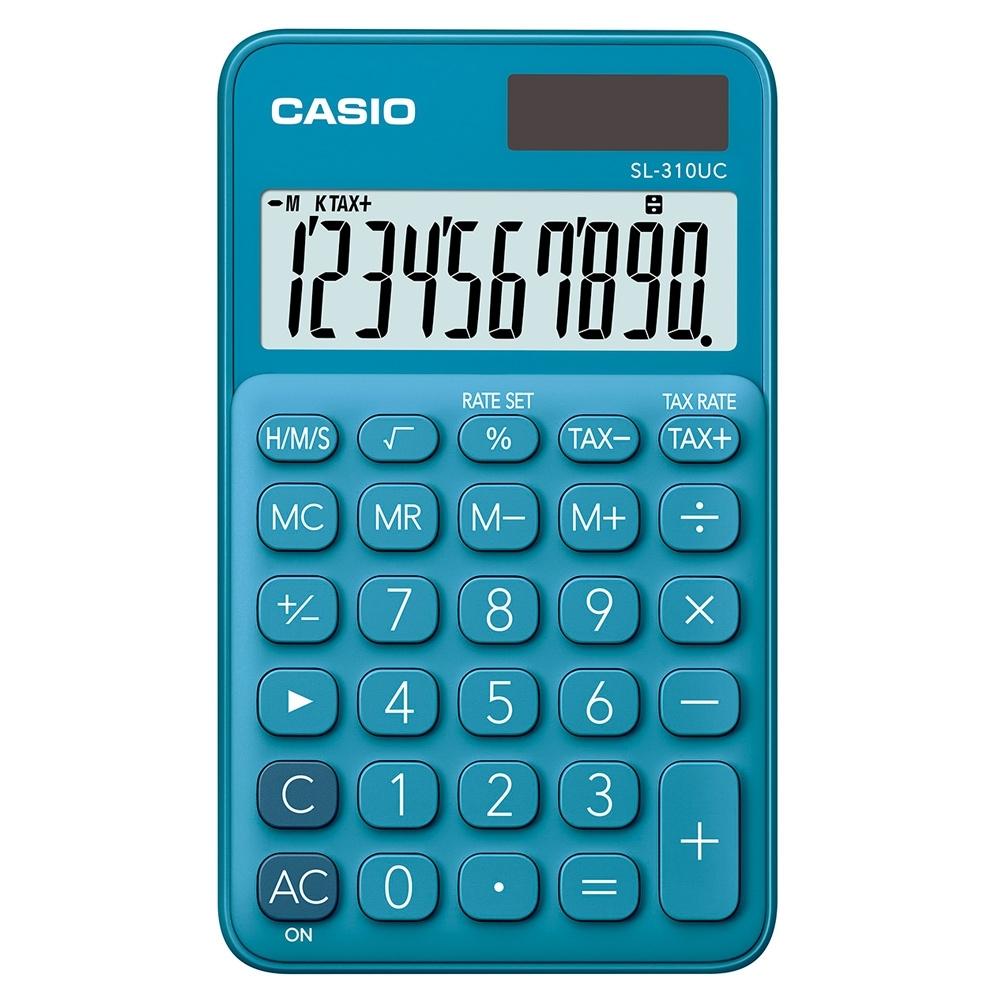 CASIO 10位元甜美馬卡龍輕巧口袋型計算機(SL-310UC-BU)-俏藍莓