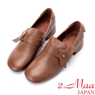 2.Maa 素面牛皮小方頭粗跟包鞋 - 亮棕