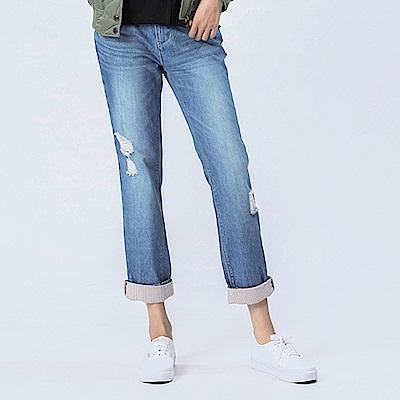 Victoria 純棉中腰反折直條配布BF褲-女-淺藍