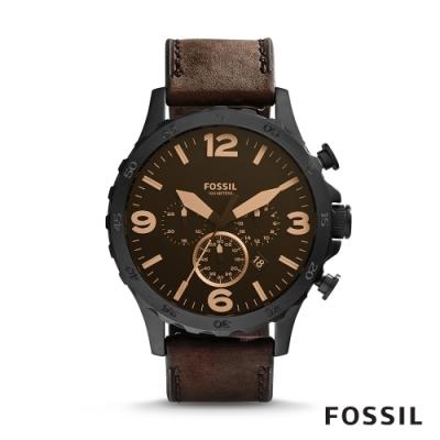 Fossil NATE 曠野奇俠深棕色麂皮計時男錶 50mm JR1487